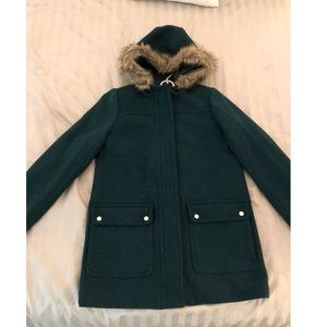 J. Crew emerald green coat with fur hood